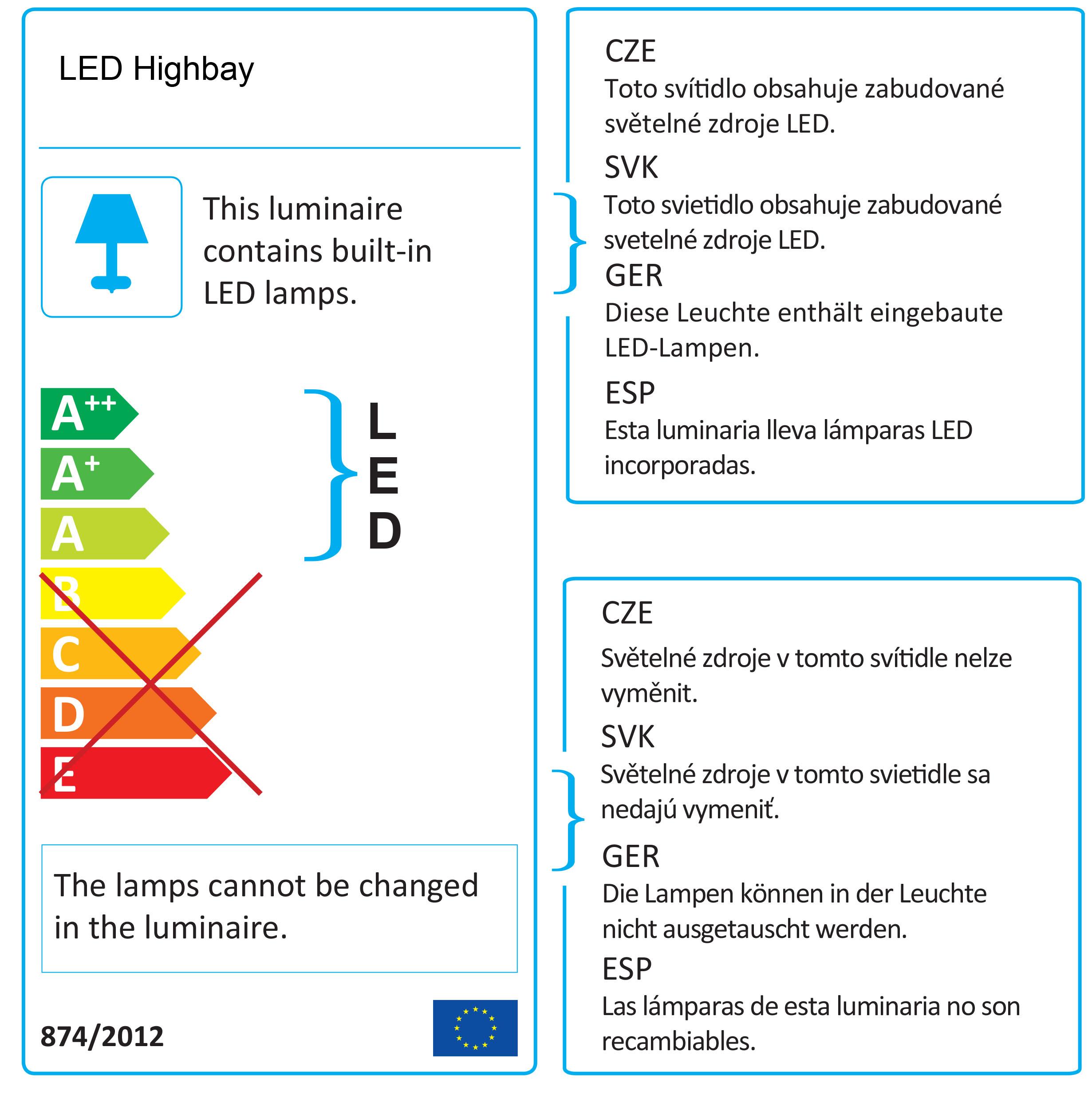 Energetický štítek průmyslového svítidla 50W